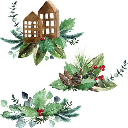Aquarel Scandinavische kerst compositie set