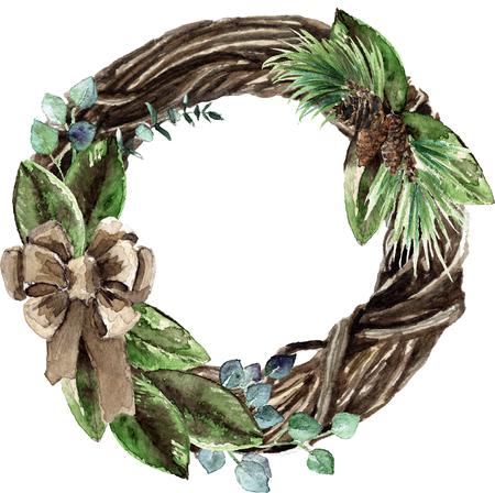 Watercolor Scandinavian Christmas Wicker Wreath