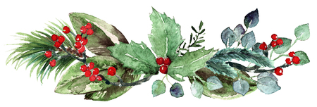 Watercolor Scandinavian Christmas Composition