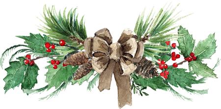 Composition de Noël scandinave aquarelle Banque d'images - 90779677