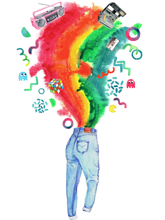 Watercolor Retro 1980s Objects and Splash Illustration Background