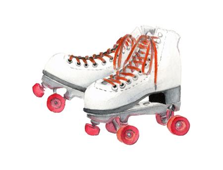 Watercolor Retro Roller Skate Foto de archivo
