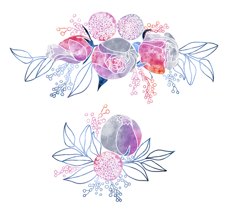 Watercolor Roses and Mimosa Bouquets. Hand drawn stylized floral coposition with watercolor texture fill. Mysterious night purple, pink and grey colors. Iridescent flowers.