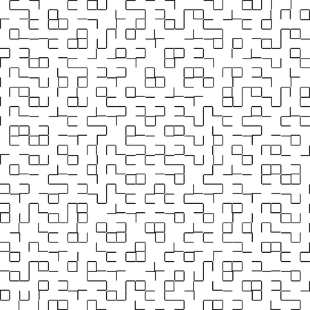 Vector Seamless Geometry Truchet Pattern. Black and white simple seamless pattern. Seamless squares labyrinth.
