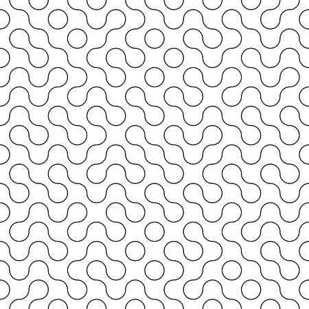 Vector Seamless Geometry Truchet Pattern. Black and white simple seamless pattern. Seamless circles labyrinth.