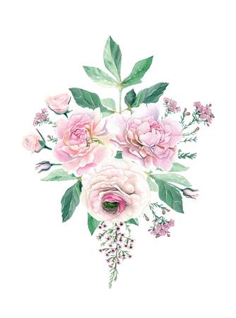 Watercolor Hand Drawn Peonies, Roses, Ranunculus and Eucalyptus Bouquet Stok Fotoğraf