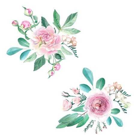 Watercolor Hand Drawn Peonies, Roses, Anemonies, Freesia and Eucalyptus Bouquet Set Stok Fotoğraf