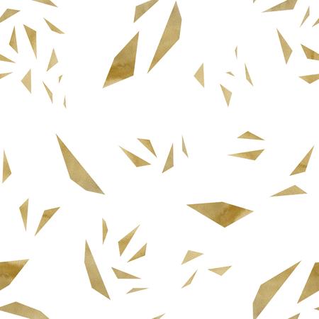 Random Geometric Triangles Gold Foil Seamles Pattern