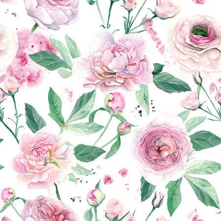 Watercolor Hand Drawn Pink Peony Seamless Pattern