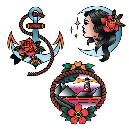 Oldschool Traditional Tattoo Vector illustration Set. Girl with rose, anchor with rose, lighthouse in a sunset tattos. Иллюстрация