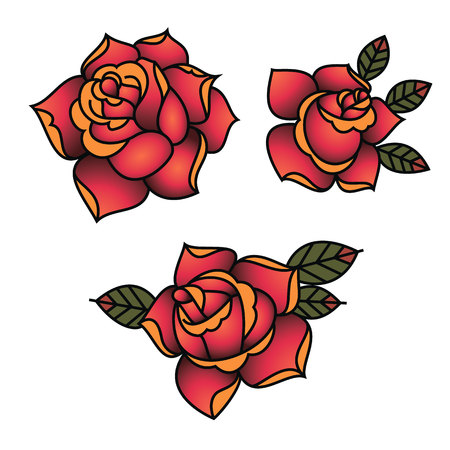 Oldschool Traditional Tattoo Vector Red Roses with leaves Иллюстрация