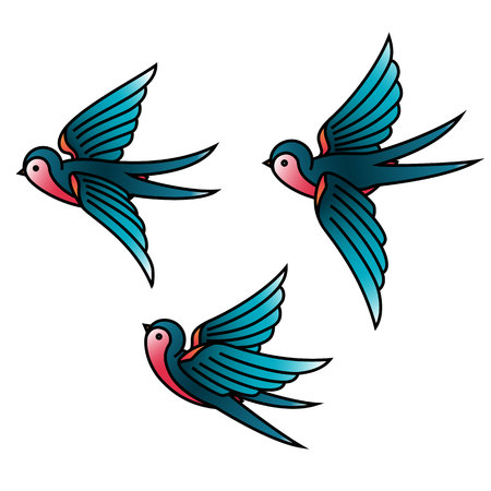 Oldschool Traditional Tattoo Vector illustration. Traditional stylized tattoo swallows.