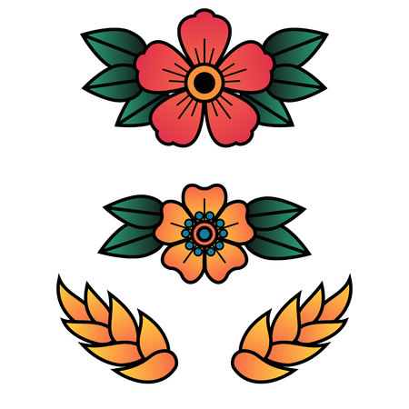 Oldschool Traditional Tattoo Vector illustration. Traditional stylized tattoo cinquefoils flowerheads.