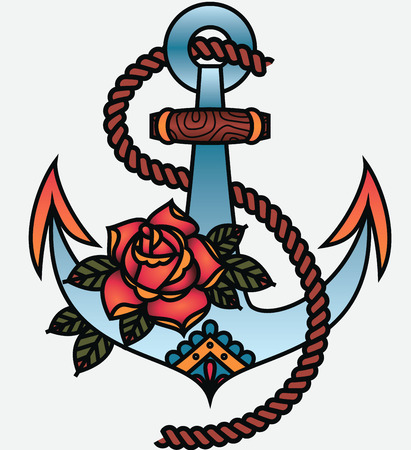Oldschool Traditional Tattoo Vector illustration. Traditional stylized tattoo anchor with rope and rose.