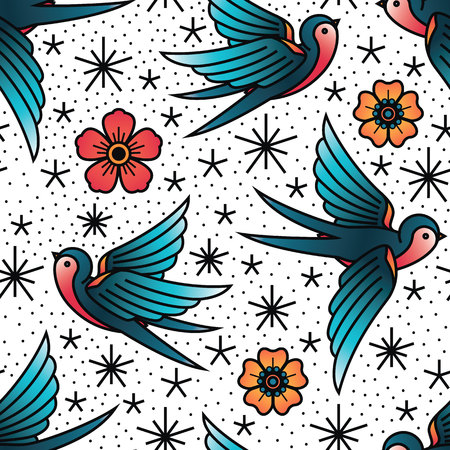 Oldschool Traditional Tattoo Vector illustration. Traditional stylized tattoo seamless pattern with swallows and cinquefoils. Иллюстрация