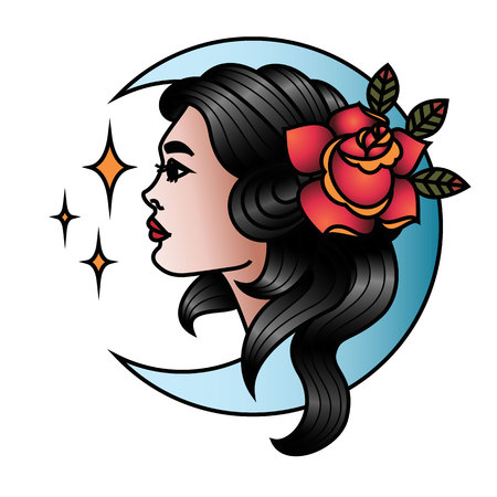 Oldschool Traditional Tattoo Vector illustration. Traditional stylized tattoo looking at the stars girl with rose portrait and moon. Иллюстрация