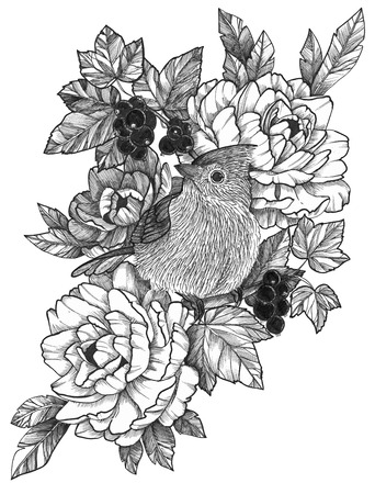 Black Ink Detailed Tattoo Bird in Floral Composition