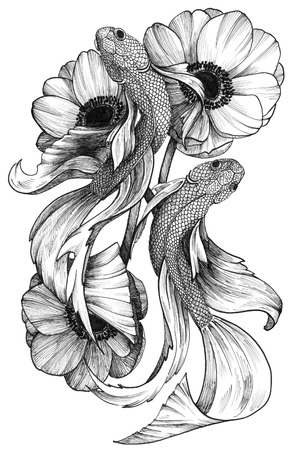 Black Ink Detailed Tattoo Fishes in Floral Composition Фото со стока