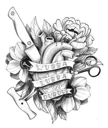 Black Ink Detailed Tattoo Hurted Heart in Floral Composition