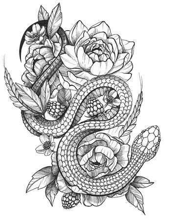 Black Ink Tattoo Funny Rick in Floral Composition. Contrast monochrome image. Peonies, raspbery and spikelet composition with a snake.