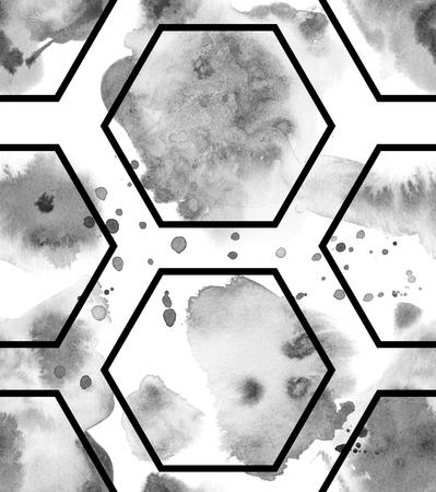 Black Ink Hand Drawn Seamless Pattern Stockfoto