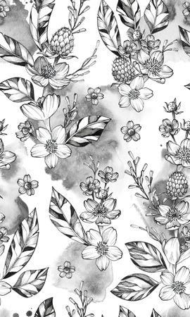 Black Ink Tattoo Hand Drawn Seamless Pattern