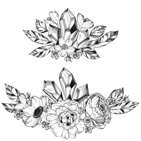 Black Ink Tattoo Hand Drawn Bouquet