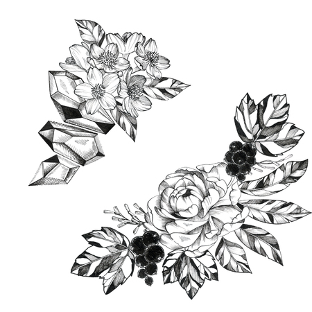Black Ink Tattoo Hand Drawn Bouquet