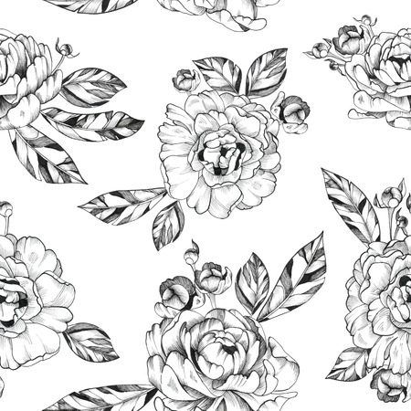 Black Ink Tattoo Hand Drawn Seamless Pattern