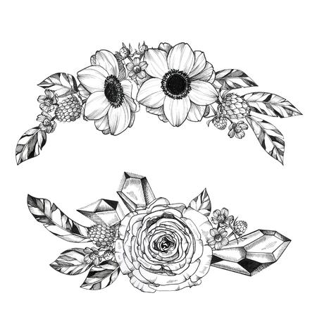 Schwarze Tinte Tattoo Handgezeichneter Blumenstrauß