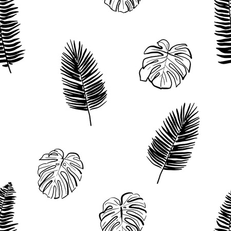 Hand Drawn Tropical Seamless Pattern. Stroked elements. Black ink stylised elements seamless pattern. Repeating black stroke tropical leaf