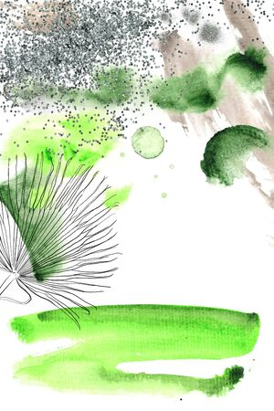 Summer Abstract Nature and Outlines Watercolor Card 版權商用圖片