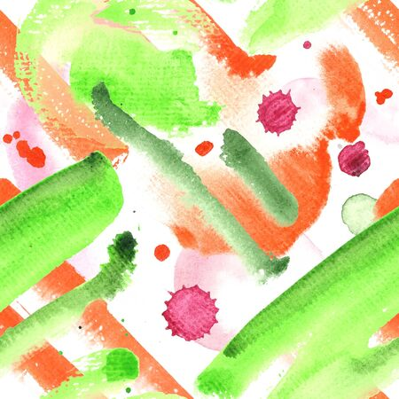 Colorful Watercolor Hand Painted Seamless Pattern with blots