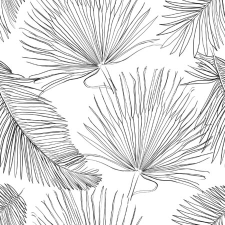 Seamless Pattern with Outlined Black Palm Leaves