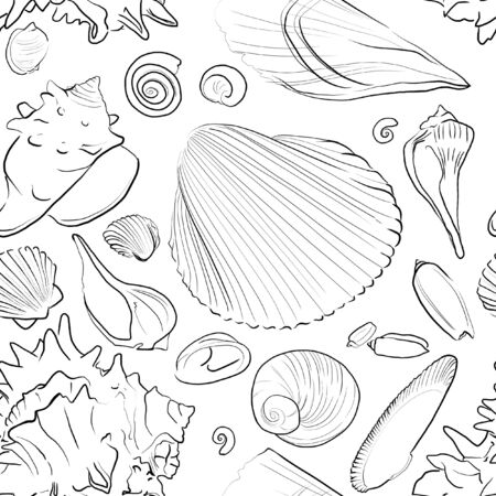 Seamless Pattern with Black Outlined Sea Shells