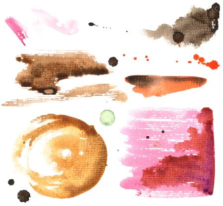 Watercolor Abtract Hand Painted Blots, Spray, Smear and Stains Set