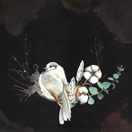 Watercolor Bird and Cotton Half Wreath Card 版權商用圖片 - 160350398