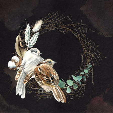 Watercolor Bird and Cotton Half Wreath Card 版權商用圖片