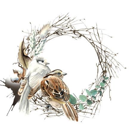 Watercolor Bird and Cotton Half Wreath Card 版權商用圖片 - 160350802