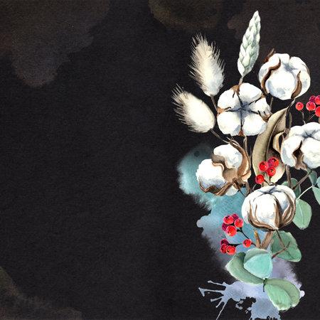 Watercolor Eucalyptus and Cotton Bouquet Card 版權商用圖片