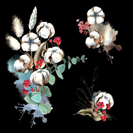 Watercolor Eucalyptus and Cotton Bouquet Set