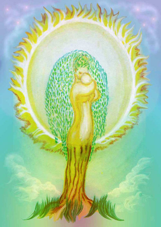 The sun of childhood is my mother. Tree of Life. Mom gently and reliably holds the baby in her arms. Imagens