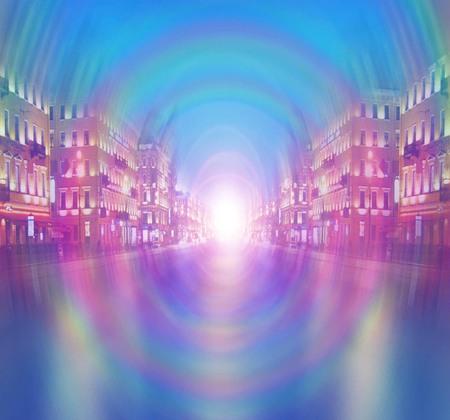 Pearl city avenue bright light rainbow distortion illustration abstraction