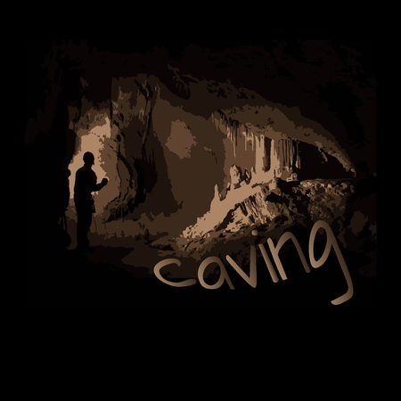 dark silhouette of a man in a cave, stalactites and stalagmites