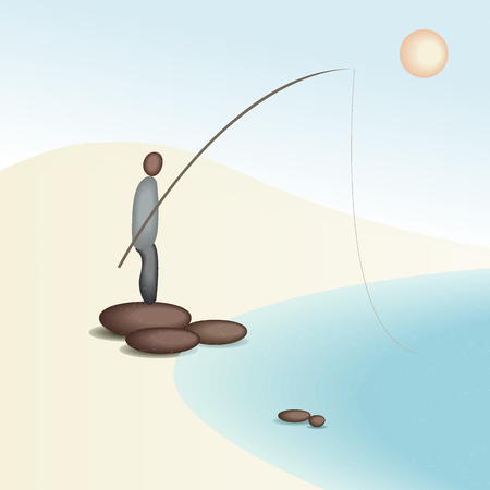 man fishing: abstraction, stones are laid out in the form of a man fishing