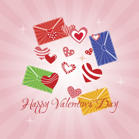 divergent: Greeting Card Happy Valentine s Day, hearts, pink background, divergent rays Illustration