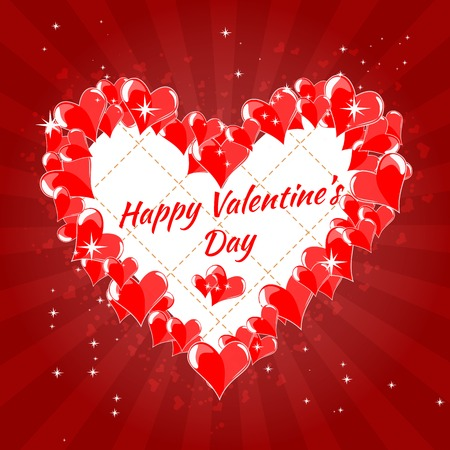 valentine s: Greeting Card Happy Valentine s Day, hearts, pink background, divergent rays Illustration