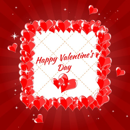 happy valentine s day: Greeting Card Happy Valentine s Day, hearts, pink background, divergent rays Illustration
