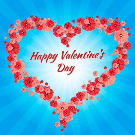 valentine s day: Greeting Card Happy Valentine s Day, hearts,  background, divergent rays