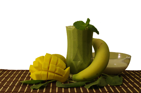 Spinach smoothie still life with components Stock Photo